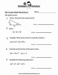 worksheets for 9th graders 9th grade math review worksheet free printable educational worksheet