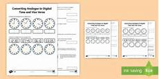 converting between 12 hour analogue time digital time worksheet