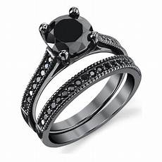 ringwright co black sterling silver 1 25 carat black cubic zirconia engagement wedding