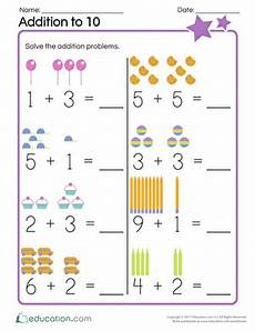 addition worksheets with pictures up to 10 9594 kindergarten addition worksheets free printables education