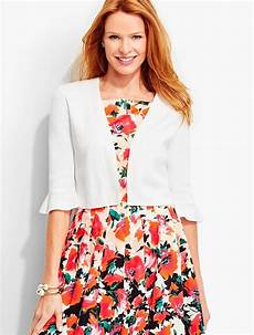 talbots clothes for lyst talbots flounced sleeve dress shrug in white