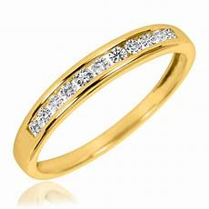 7 8 carat t w diamond his and hers wedding rings 14k yellow gold