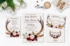 printable wedding invitation suite deer antler pink floral deer antlers burgundy printable wedding invitation suite