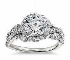 monique lhuillier floral halo diamond engagement ring in platinum blue nile