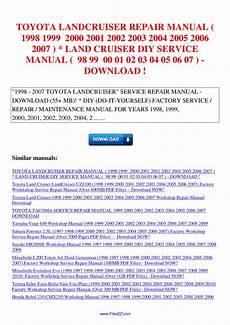 how to download repair manuals 2004 toyota land cruiser user handbook toyota landcruiser repair manual 1998 1999 2000 2001 2002 2003 2004 2005 2006 2007 land cruiser