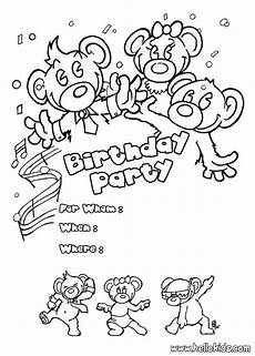 bears birthday invitation coloring pages