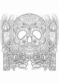 Ausmalbilder Erwachsene Totenkopf Skull And Candles Coloring Pages
