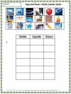 copy and paste solids liquids gases solid liquid gas 1st grade worksheets computer lab lessons