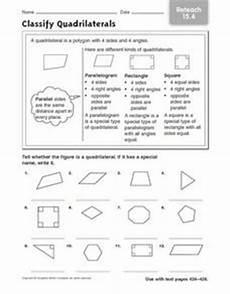 classify quadrilaterals reteach 15 4 worksheet for 3rd