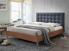 lit capitonn 233 francesco 140x190cm tissu gris et bois