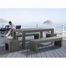 salon de jardin en beton table en b 233 ton 180 cm 2 bancs et 2 tabourets en b 233 ton