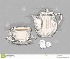 gezeichnete teekanne mit tasse vektor abbildung