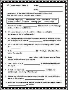 envision math 4th grade vocabulary cloze worksheet