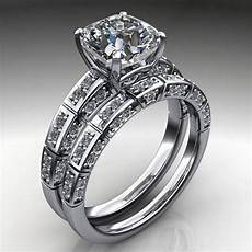ring 2 carat cushion cut neo moissanite engagement and wedding band j designs