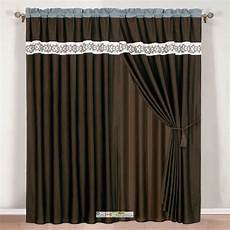Brown Curtains by 4 Pc Scroll Floral Embroidery Curtain Set Brown Beige Teal