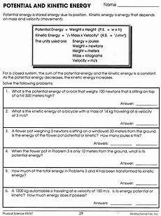 potential and kinetic energy worksheet answers kinetic potential energy kinetic energy