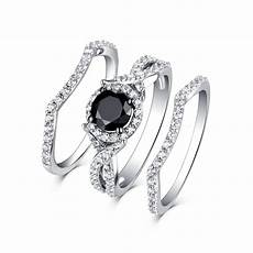 tinnivi classic sterling silver black diamond halo 3pc