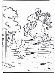 coloriage de chevaux en plein saut
