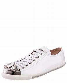 Miu Miu Jeweled Toe Sneaker In White Lyst