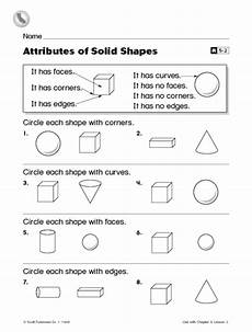 attributes of solid shapes first grade reteaching worksheet worksheet for 1st grade lesson planet
