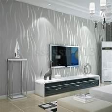 10m silver 3d non woven wave stripe embossed wallpaper