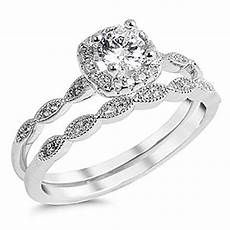 sterling silver 925 cz halo vintage style engagement ring