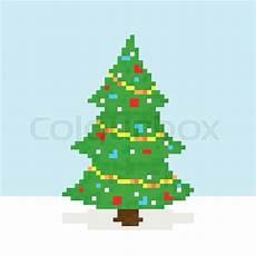 pixel art sryle merry christmas tree vector postcard stock vector colourbox
