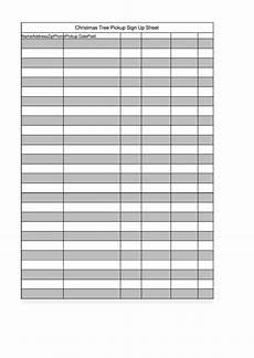 christmas tree pickup sign up sheet template printable pdf