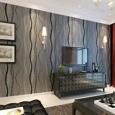 Black Grey Wave Striped Wallpaper Stripe Curve Feature