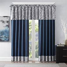 Tanami Printed Window Curtain Panel In Blue Grey Bed
