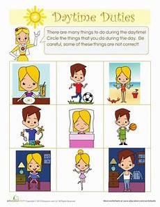 time of day worksheets for kindergarten 3596 daytime duties worksheet education