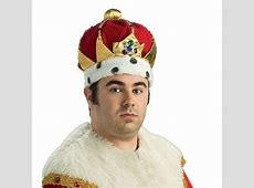 Kings Crown Mens Royalty Costume Royal Plush Hat Jeweld