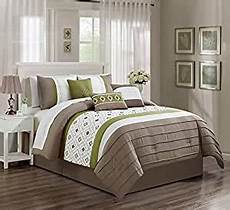 com jaba embroidered 7 piece bedding white green taupe comforter with accent