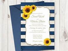 sunflower wedding invitation printable template with navy blue stripes vintage wedding