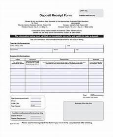 free 7 deposit receipt form sles in sle exle