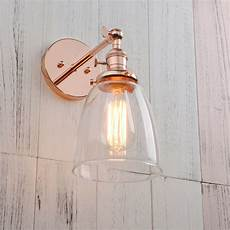 modern vintage filament wall light sconce l glass shade integrated switches ebay