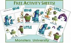 big and little worksheet monsters university printables monster university preschool