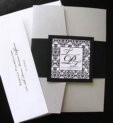 diy black and white damask pocket folder wedding