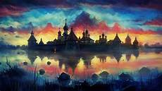Drawing Painting Monastery Reflection Clouds Colorful