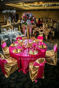 hot pink and gold wedding table decor viviano flower shop