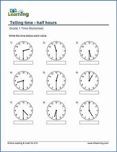 grade 1 telling time worksheet on half hours 1st grade telling time math and
