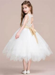 a line tea length flower girl dress tulle lace sleeveless scoop neck with sash back hole