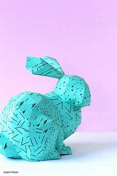 How To Make 3d Paper Bunny Craft Template Papershape