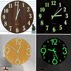 Glow Mute Wood Wall Clock 12 glow in the mute wood wall clock for home room