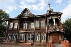Altes Holzhaus Barnaul Russland Stockfoto Bild