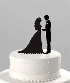 wedding cake topper silhouette groom and acrylic cake