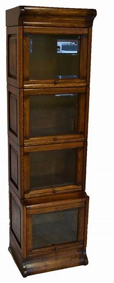 mission oak 4 stack narrow barrister bookcase with leaded