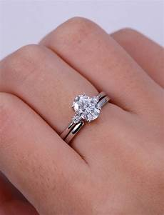 moissanite engagement ring white gold oval cut engagement