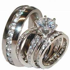 his and hers wedding rings brilliant cut cz eternity ring sterling silver ebay