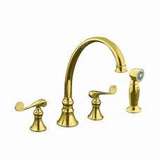 kitchen faucets brass kohler revival 2 handle standard kitchen faucet in vibrant polished brass k 16109 4 pb the